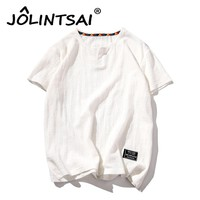Cotton and linen Men's T-shirt Summer Fashion V-Neck Retro Chinese Style T Shirt Youth Tshirt Men 2017 Loose Plus Size M-5XL
