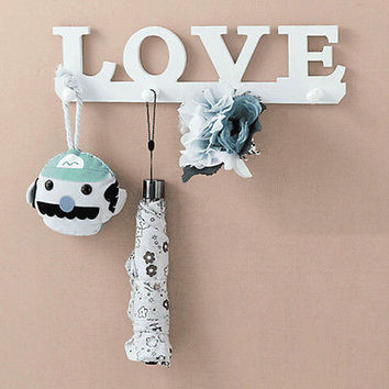 White Love Coat Hat Key Holder 4 Hooks Clothes Bag Robe Mount Screw Wall Rack HU