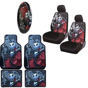 Licensed Official Nightmare Before Christmas Car Truck Front Rear Floor Mats Wheel Seat Covers Set
