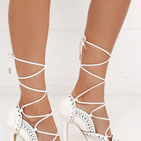 Up in the Clouds White Lace-Up Heels