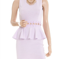Lace waist Peplum dress- Lavender