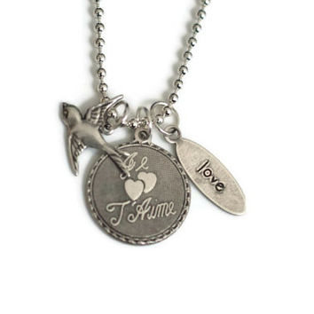 Je T'Aime French Love Neclace - Silver Plated Brass with French I love You, Bird and Love charm. with Bird charm and Ball Chain