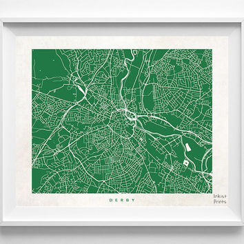 Derby Print, England Print, Derby Poster, England Poster, Street Art, Wall Decor, Wedding Gift, Room Decor, Map Poster, Halloween Decor
