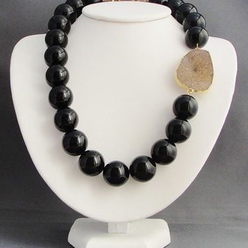 Black Onyx and Large Druzy Necklace, Black Statement Necklace, Asymmetrical Necklace 14kt gold fill