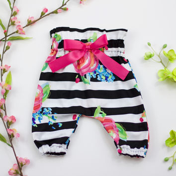 Black and White Stripe High Waisted Pants