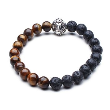 Something Strong Brown/Charcoal Stone & Silver Lion Bracelet