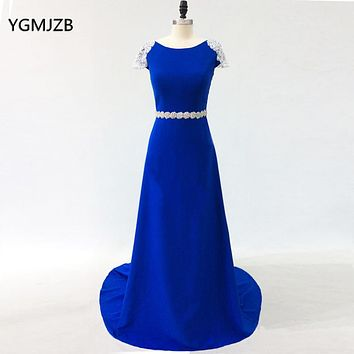 Sparkly Evening Dresses Long 2018 Beaded Crystal Boat Neck Open Back Royal Blue Formal Evening Gowns Prom Dress Robe De Soiree