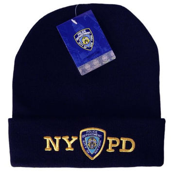 NYPD Winter Hat Beanie Skull Cap Navy Blue Officially Licensed by The New York City Police Department