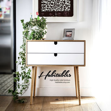 Mid-Century Scandinavian Side Table / Nightstand / Dresser / commode / console Frame and legs made in oak ,and drawers lacquered in white