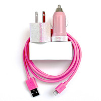 Little Mermaid Inspired Pink iPhone Charger | cord/cable, portable charger, mobile car charger | for iPhone 6, 6s | iPhone 5, 5s, 5c