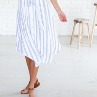 Seaside Pinstripe Midi Skirt