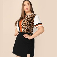 Plus Size T-shirts Women Cut Sew Striped Leopard Tops Multicolor Short Sleeve Ladies Tee shirt