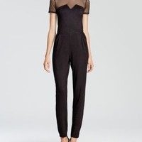AQUA Jumpsuit - Illusion Neckline | Bloomingdales's