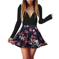 Long Sleeve Print Flower  V Neck Sexy Mini Skater Dress