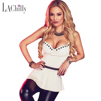 New Sexy 2016 Women camisole Summer Night Club Style Sleeveless 4 Colors Charming V Neck Flare Clubwear Top LC25763