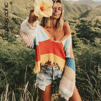 Cryptographic deep v neck rainbow stripe sweaters women sexy jumper crop top pullover female 2018 autumn winter women clothes