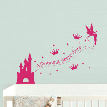 rvz926 Wall Vinyl Sticker Bedroom Kids Decal Princess Sleep Here Fairy Stars