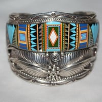Vintage Sterling Silver Cuff  Bracelet, Zuni Native American, Oynx Turquoise Opal Coral Inlay Moon Stars Indian Jewelry