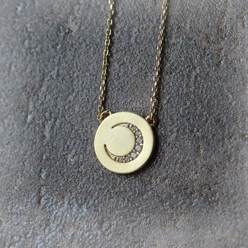 Disc Moon Necklace / choose your color / gold and silver