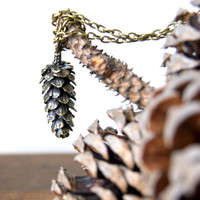 Large Pine Cone Necklace - Antiqued Bronze Pine Cone Necklace