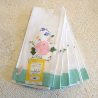6 Tea Towels, Flower Embroidered Hand Towel Set, Pink Rose and Dainty Flowers