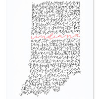 Back Home Again In Indiana Calligraphy Print