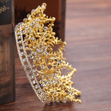 Vintage Round Big Crown Queen Tiara Hair Jewelry