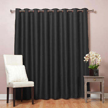 "Black Wide Width Flame Retardant Basic Solid Grommet Thermal Insulated Blackout Curtains 100""""W X 95""""L"