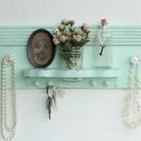 New...Shabby Chic Sea Glass Jewlery Hanger, Coat or Towel Rack...Mason Jar Shelf....Made to Order
