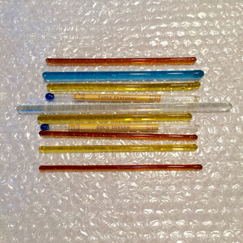 1950's Glass Swizzle Sticks/Abe's Tavern in Harrisburg, PA/Three Feathers/Oldtyme Distillers/Amber, Yellow, Blue & Clear Swizzle Sticks