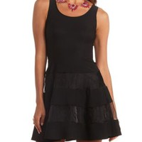 Sleeveless Organza-Striped Skater Dress by Charlotte Russe