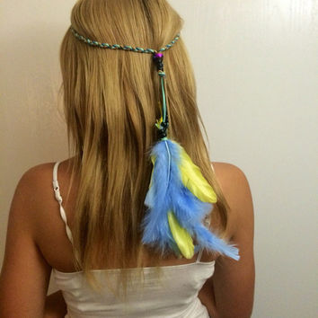Baby blue, yellow, bright, vivid, colorful, feather, feathers, feather headband, Feather hair, hair comb, feather extension, feather clip,
