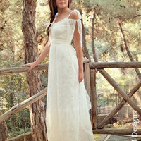 Vintage Wedding Dress Lace and Tulle Long Bridal Gown - Handmade by SuzannaM Designs