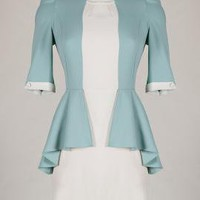 Corporate Aesthetics Mock Two-Piece Dress in Moonstone Blue | Sincerely Sweet Boutique