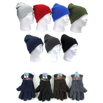 Men's Premium Knit Hats and Adjustable-Strap Fleece Lined Gloves