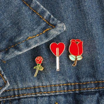 Trendy Fashion Women Romantic Rose Brooch Denim Jackets Lapel Badge Pins Enamel Pin Pretty Girls Brooches for Clothes Lady Jewelry Gift AT_94_13