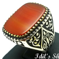 Men's Ring, Turkish Ottoman Style Jewelry, 925 Sterling Silver, Authentic Gift, Traditional, Handmade, With Agate Stone, US Size 9, New