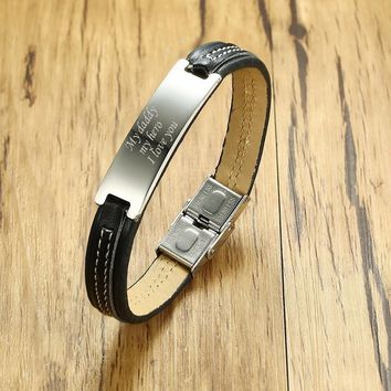 """Men's Engraved Message Leather Bracelet in Black Men Stainless Steel Tag Bangle for Male Jewelry Gift for Him 7.8"""""""