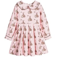 Pink & Beige Rabbit Flannel Dress