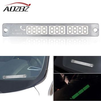 Silver Car Luminous Sticker For Temporary Parking Card Sticker With Suckers And Phone Number Card Stickers Plate