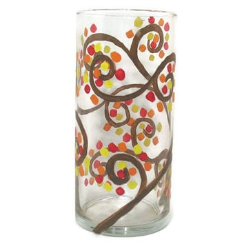 Fall Glass Vase, Fall Tree of Life, Fall Party Decor, Autumn Candle, Autumn Centerpiece, Fall Home Decor, Candle Holder, Hand Painted Vase