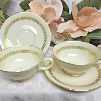 Lenox, China Dinnerware  Imperial #P338 Laurel Band set 2 Cup and saucer