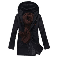 Zippered Snap-Buttoned Closure Man Coat With Hood