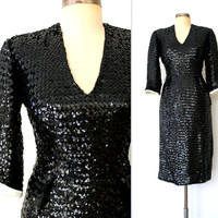 1960s Wiggle Dress / 60s Sequined Cocktail Dress / SHINING SEQUIN