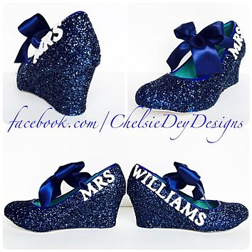 Navy Blue Wedge Glitter Pumps, Midnight Wedding High Heels with New Last Name