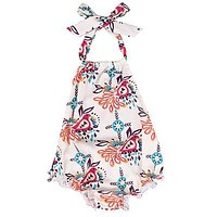 Newborn Baby Girls Floral Sleeveless Romper Backless Jumpsuit Summer Clothes