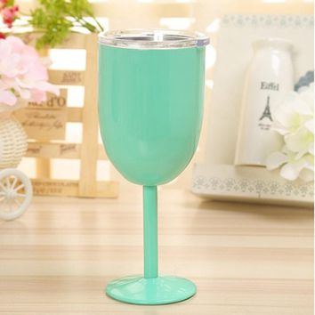 2017 new Stainless Steel 14oz Wine Glass Double Wall Insulated Metal Goblet With Lid Rambler Colster Tumbler Wine Mugs