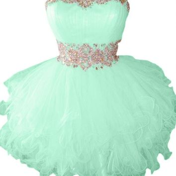 Sunvary Cute Sweety 16 Cocktail Homecoming Dress Evening Dress Mini Bridesmaid Prom Gowns Juniors Size 2- Mint