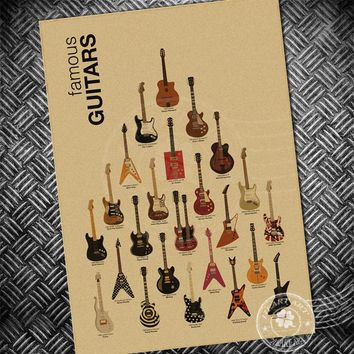 Guitar Music ROCK CHold Vintage poster retro painting cafe wall old sticker living room prints posters bar paper print picture