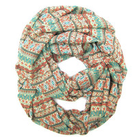 Aztec Fashion Infinity Scarf Women Circle Scarf Tribal Scarf Eternity Scarves Turquoise Orange Tan Teen Scarf Gift Idea Ready to Ship